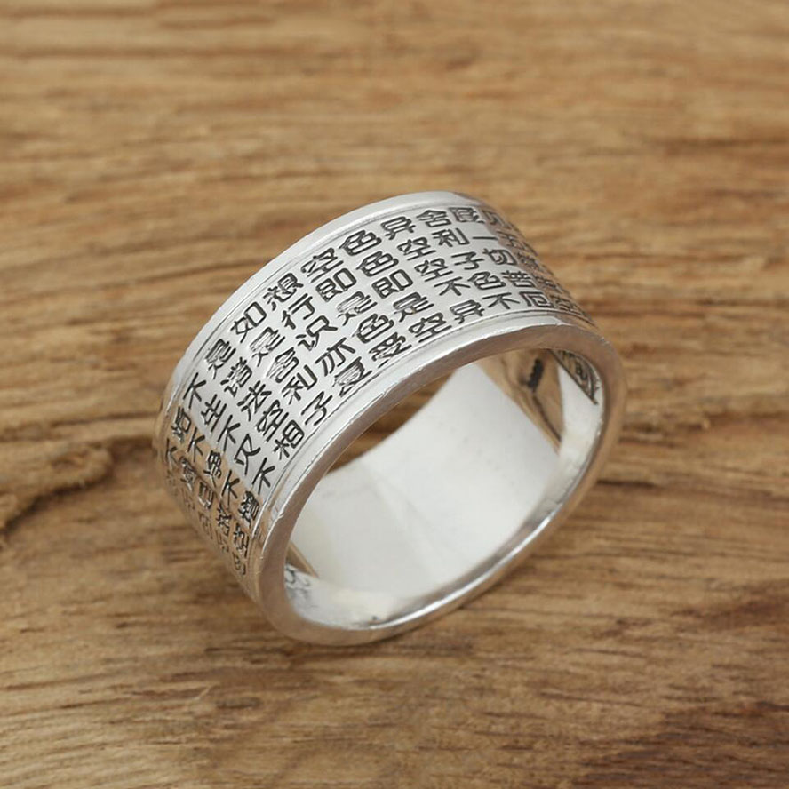 2016 Heart Sutra Chinese Characters S990 Sterling Silver 925 Ring For Women And Men Wedding Rings Summer Fashion Fine Jewelry G3 In From