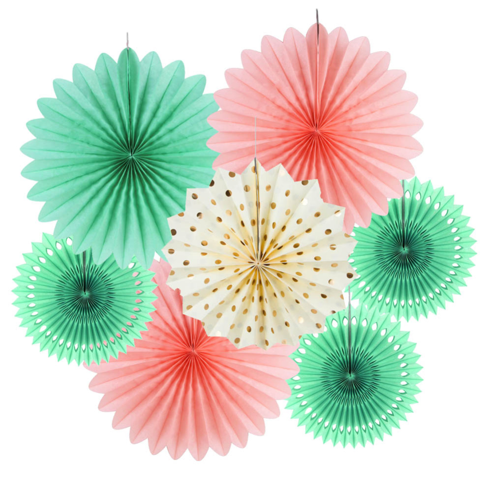 Set of 7 (Mint,Pink,Cream)Tissue Paper Fan Kit Rosettes Photo Backdrop Paper Pinwheel Party Supplies for Wedding Birthday Baby Shower Decor (1)
