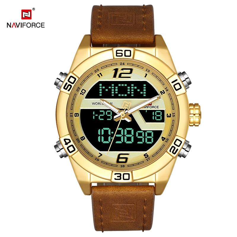 NAVIFORCE Luxury Brand Men Sports Chrono Watch Analog Digital Display