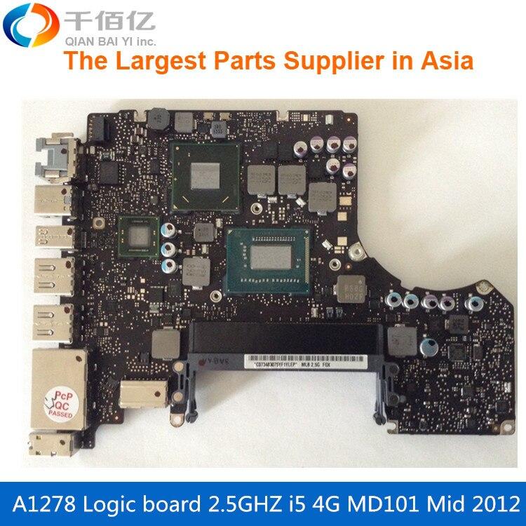 Ordinateur portable Carte Mère Pour MacBook Pro A1278 Carte Logique 13' MD101 4G i5 2.5 GHZ 820-3115-A Mi 2012