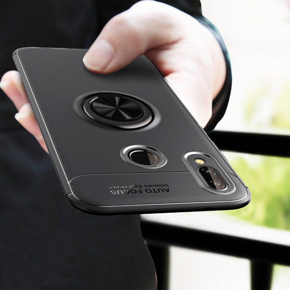 P20 случае автомобильный держатель Магнитный чехол для huawei P20 lite P20 чехол 360 Вращающийся палец кольцо телефон чехол для huawei p20 Pro Капа ...