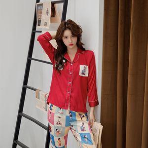 Image 5 - Daeyard frauen Pyjamas Set Silk Shirts Und Hosen 2Pcs Pyjamas Mädchen Nette Nachthemd Nachtwäsche Kontrast Farbe Casual Hause pj Set