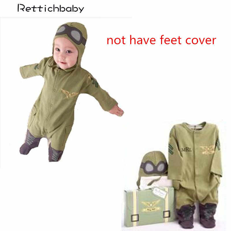 Baby Boys Pilot Costume Air Force Captain Army Green Long Sleeve Romper with Hat Infant Toddler Clothing Roupas Infantil
