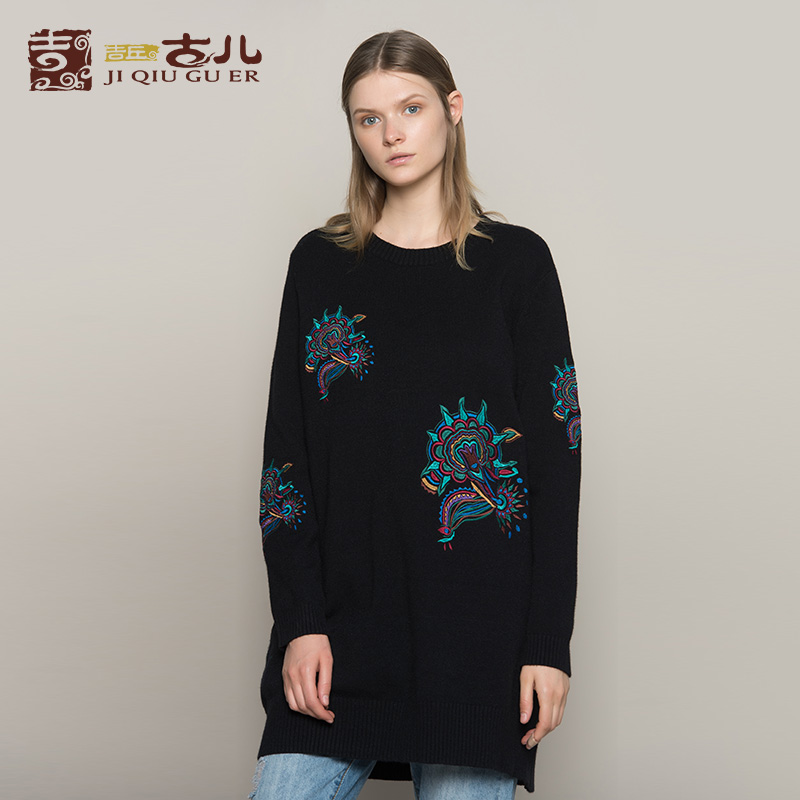 Jiqiuguer Women Black Embroidery Oversized Pullovers Full Casual Loose Mid Length Knitted Top O Neck Autumn
