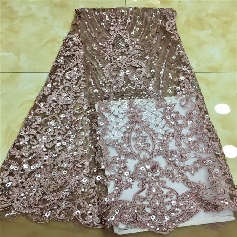 VILLIEA African Lace Fabric Sequins Embroidery Lace Fabric Bridal Wedding French Mesh Lace Fabric