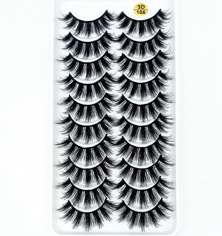 Multi style 10 Pairs 3D Soft Mink Hair False Eyelashes Handmade Wispy Fluffy Long Lashes Natural Eye Makeup Tools Faux EyeLashes-in False Eyelashes from Beauty & Health