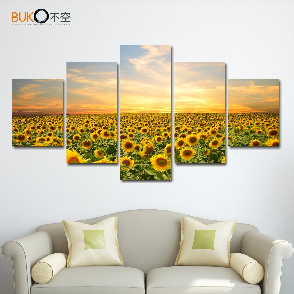 5 piece canvas painting poster sunflowers landscape home decor wall art Modular pictures HD art modern