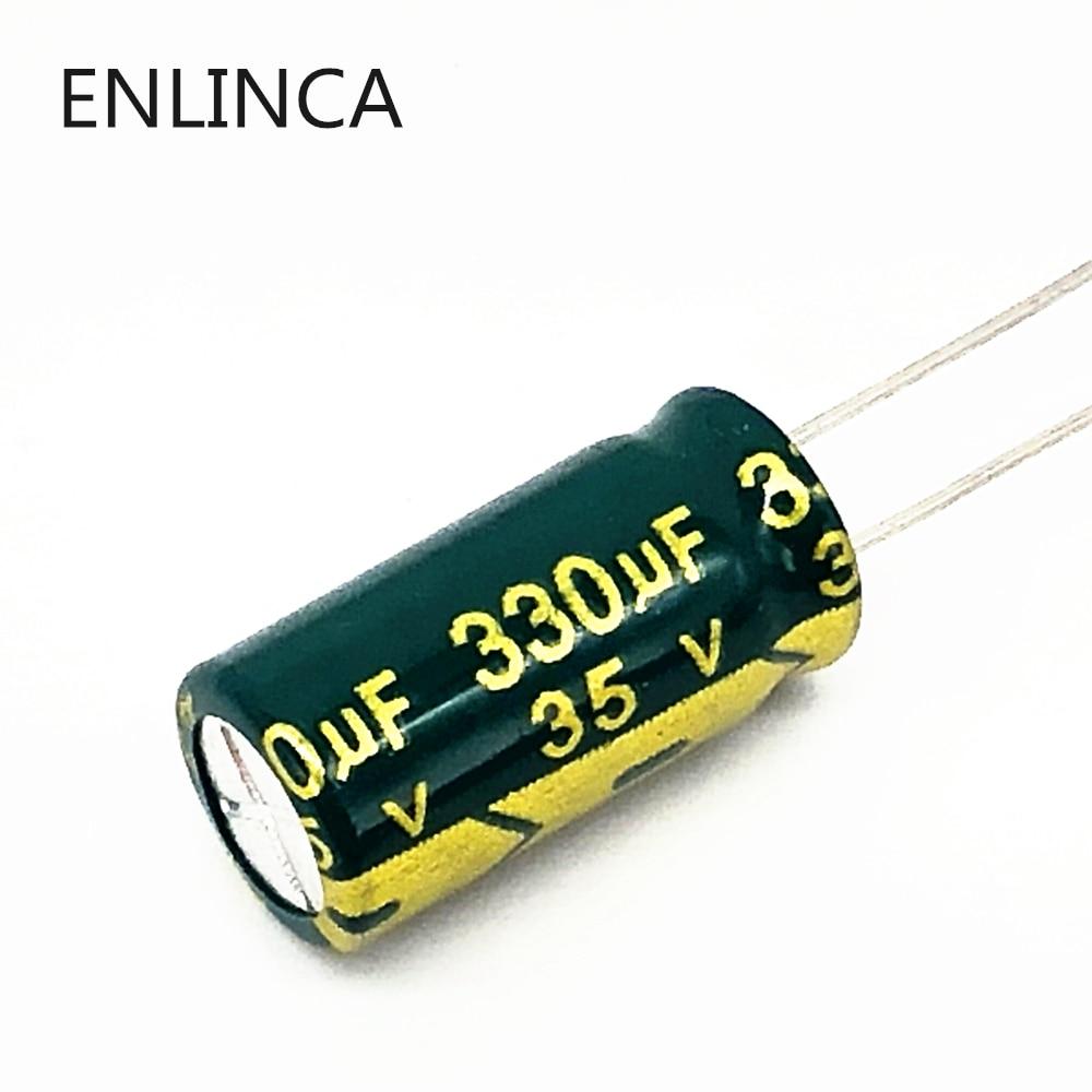 12pcs/lot T26 35v 330UF Aluminum Electrolytic Capacitor Size 8*16mm 330UF35V 20%