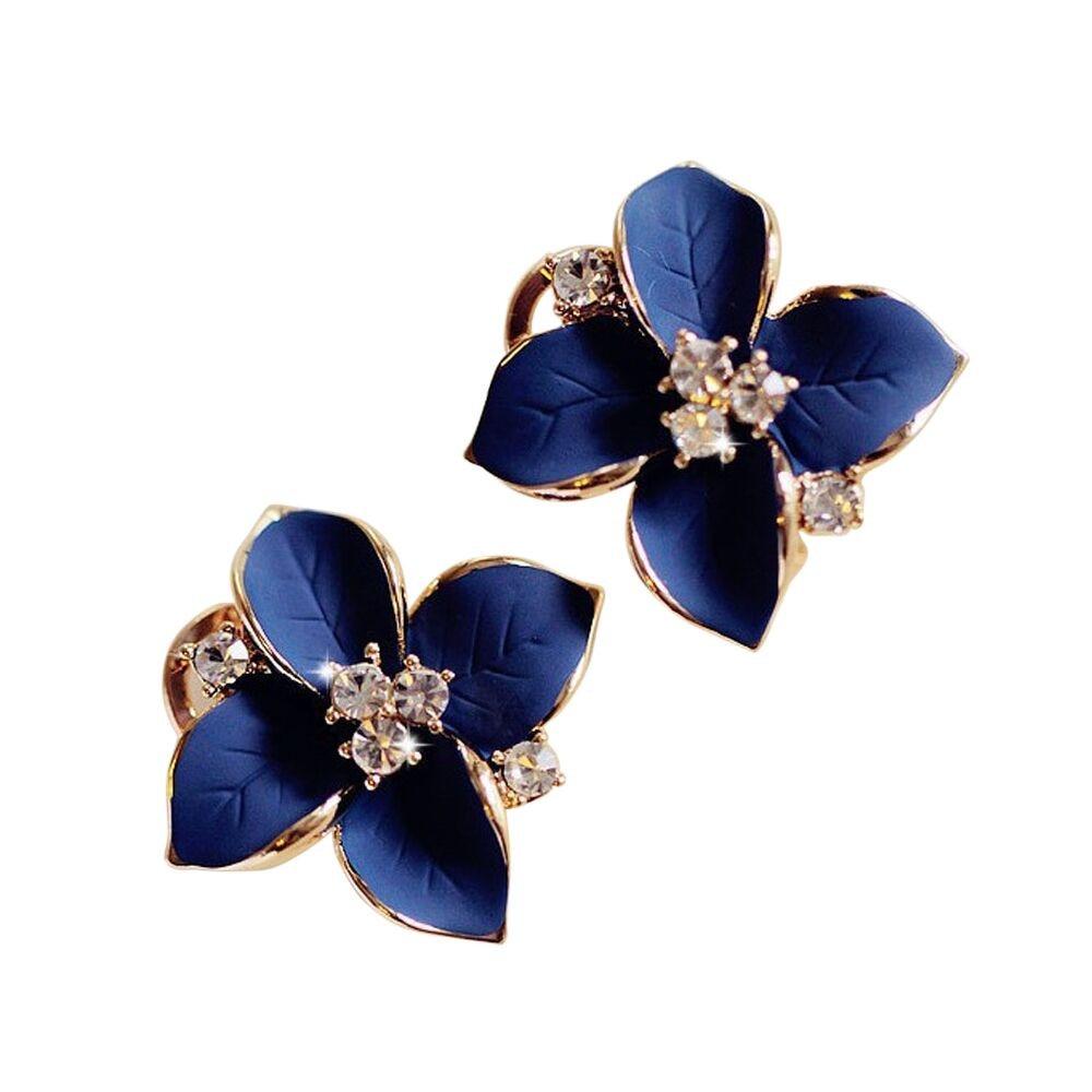 Women Charm Flower Petals Rhinestone Dangle Drop Hook Cute Earrings Jewelry Lit