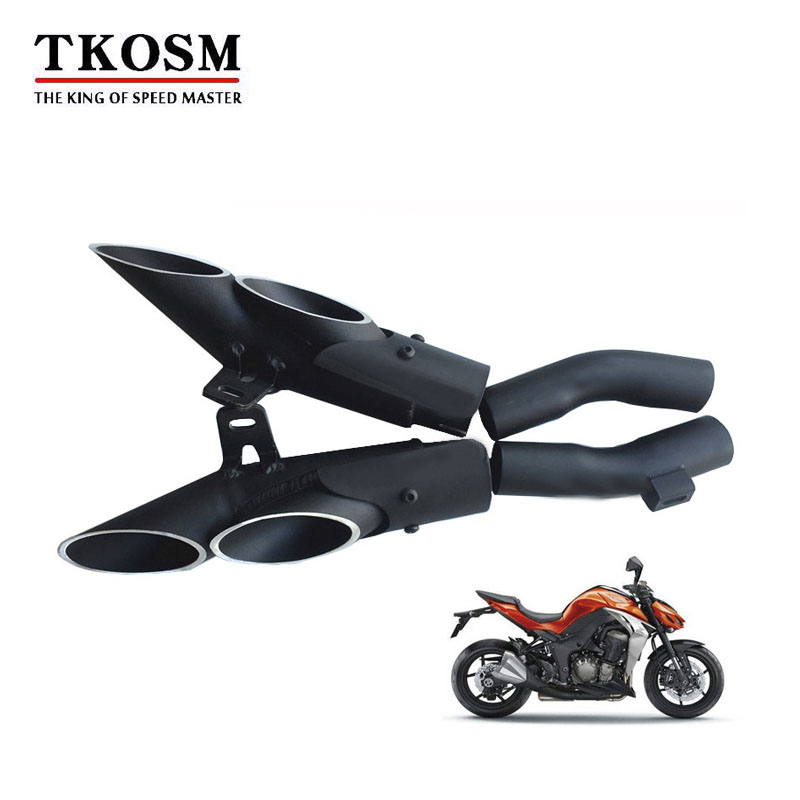 TKOSM Aluminum Alloy TOCE Motorcycle Motorbike Exhaust Muffler Pipe Kits Left and right for Kawasaki Z1000 Moto Exhaust Escape