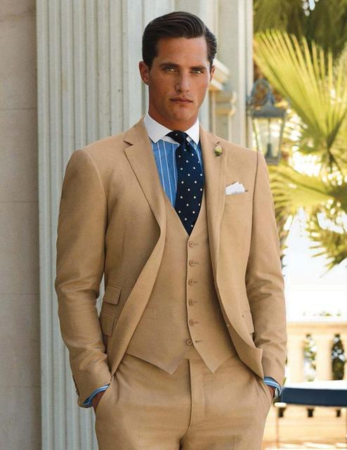 Dernières Manteau Pantalon Designs Champagne Hommes Costume De Mariage  Costumes pour hommes Slim Fit Marié Maigre 0f8c5f2e835