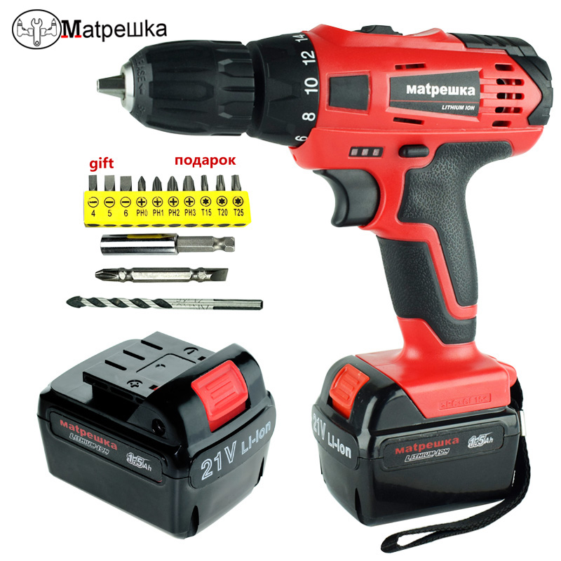 21V Electric drill multi-function electric screwdriver Household cordless drill 2 battery charging mode electrical tools wireless electric drill with battery household hand electric multi function impact drill rotary hammer drill electric planer