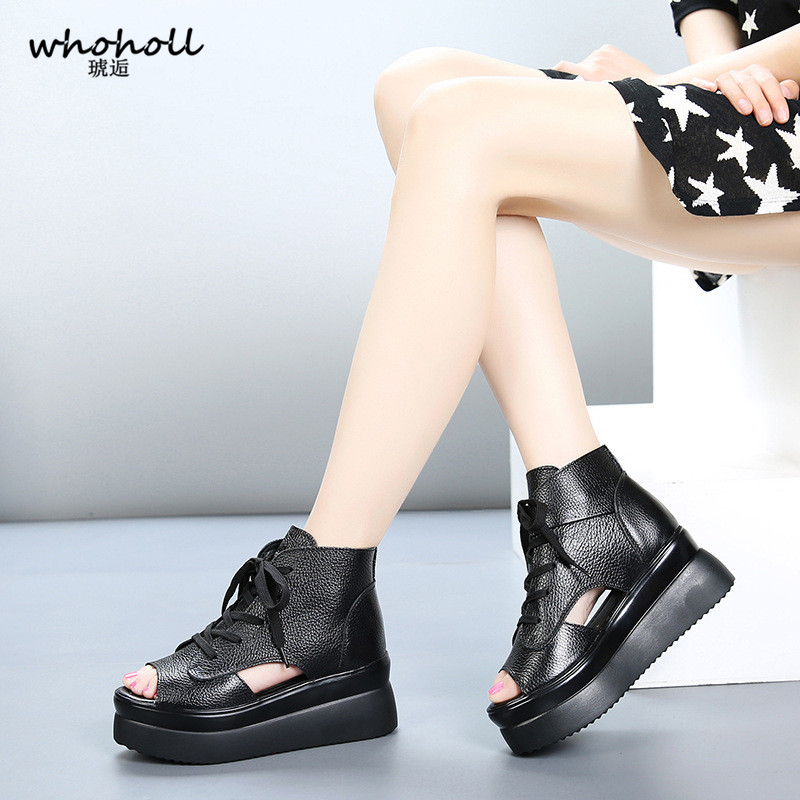 WHOHOLL Summer Brand Women Sandals Thick Bottom Platform Wedge Sandals Female Black Lace-up Gladiator Sandals Walking Shoes