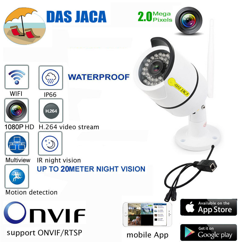 Das Jaca Bullet camera 2.0Mega 1080P FHD IP Camera Wifi Surveillance Camera Infrared Night Vision Outdoor CCTV security Camera smar outdoor bullet ip camera sony imx323 sensor surveillance camera 30 ir led infrared night vision cctv camera waterproof