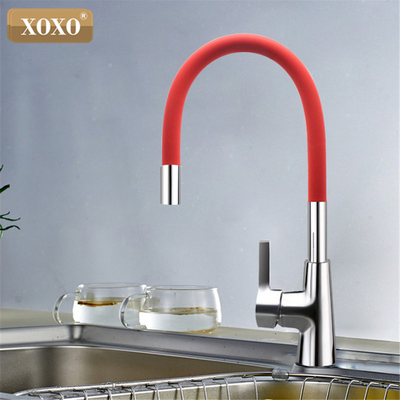 XOXO 360 New Arrival 7-cor de Sílica Gel Nariz Qualquer Sentido de Rotação Torneira Da Cozinha de Água Fria e Quente Mixer 1301R