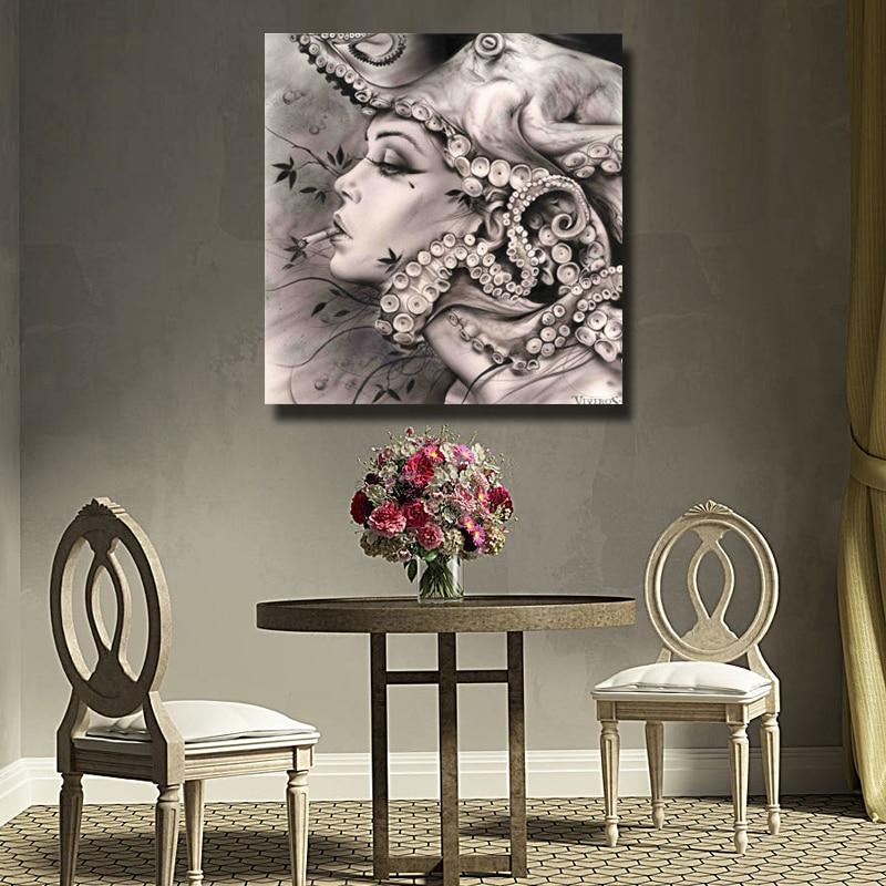 Абстрактные настенные художественные изображения расписанные вручную Масляные картины на холсте для девочек, настенные художественные ка... - 4