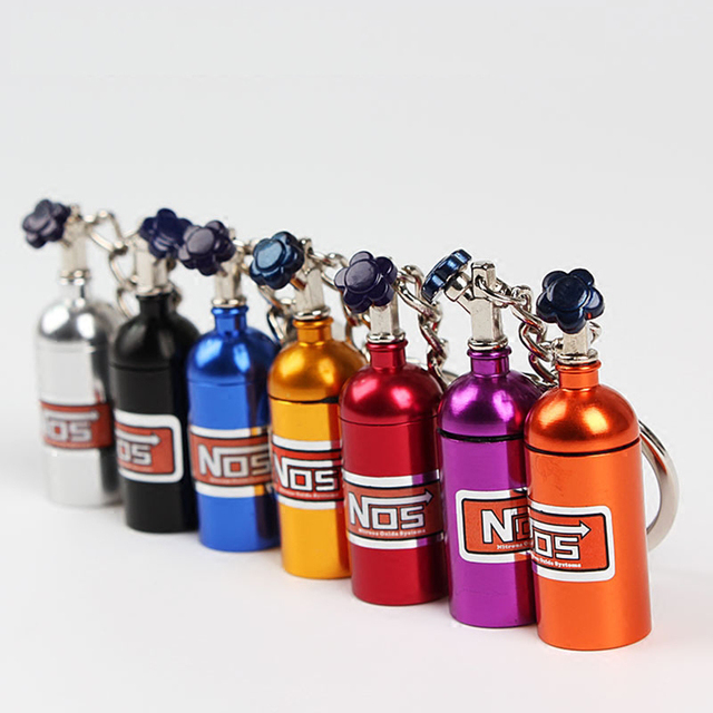 LLavero de Metal de moda llavero de coche llavero automático llavero para NOS Turbo Nitrgen botella coche estilo regalo colgante
