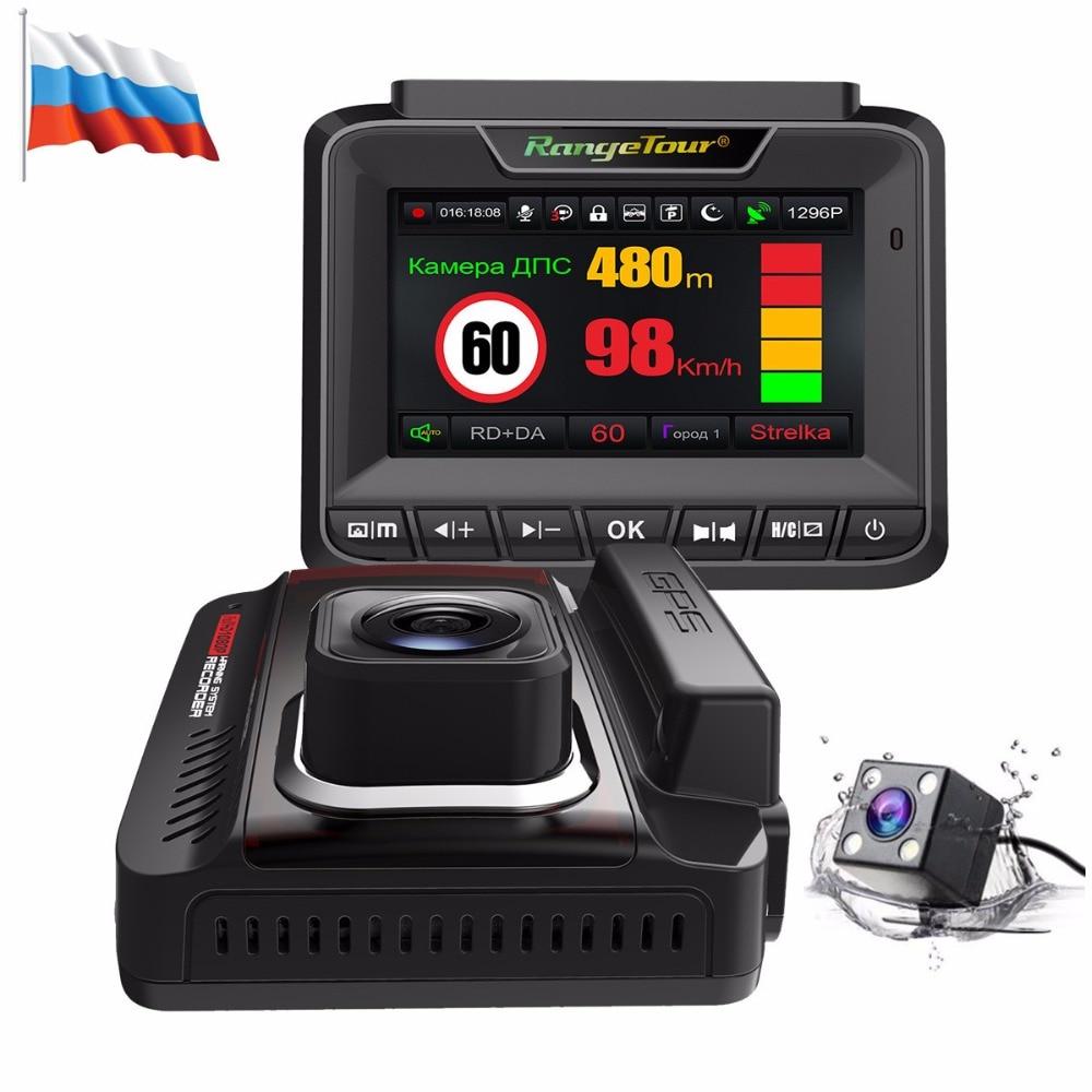 Новый Автомобильный dvr Радар-детектор gps Dash Cam 1296 P видео рекордер двойная линза Автомобильная камера 3 в 1 Автомобильный детектор авто регист...