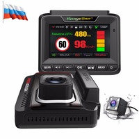 Новый Видеорегистраторы для автомобилей Антирадары gps регистраторы 1296 P видео Регистраторы Двойной объектив автомобиля Камера 3 в 1 автомоб