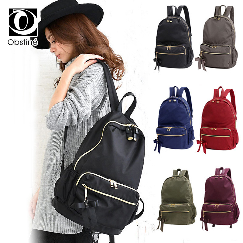 Fashion Bow Cute Backpack Female Casual Backpacks For Girls Waterproof Bagpack Women Korean Black Back Pack Bags Travel Backbag