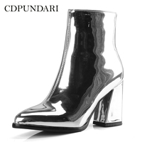 CDPUNDARI/серебристые и черные ботильоны для женщин; сапоги на высоком каблуке; женская зимняя обувь; женская обувь золотого и фиолетового цвета...