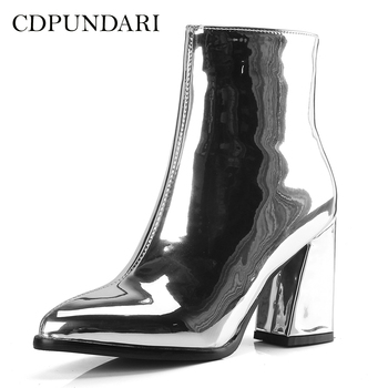 c72abd9a3dc CDPUNDARI plata negro tobillo botas para mujeres de tacón alto botas de  invierno de Damas zapatos de mujer de oro púrpura botas invierno mujer