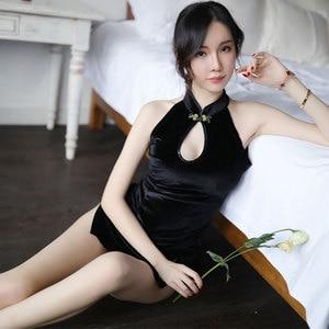 Image 4 - women Embroidered Retro Cheongsam Sexy Temptation Underwear Babydoll Lingerie Nightwear Dress Black Velvet Sexy Costumes