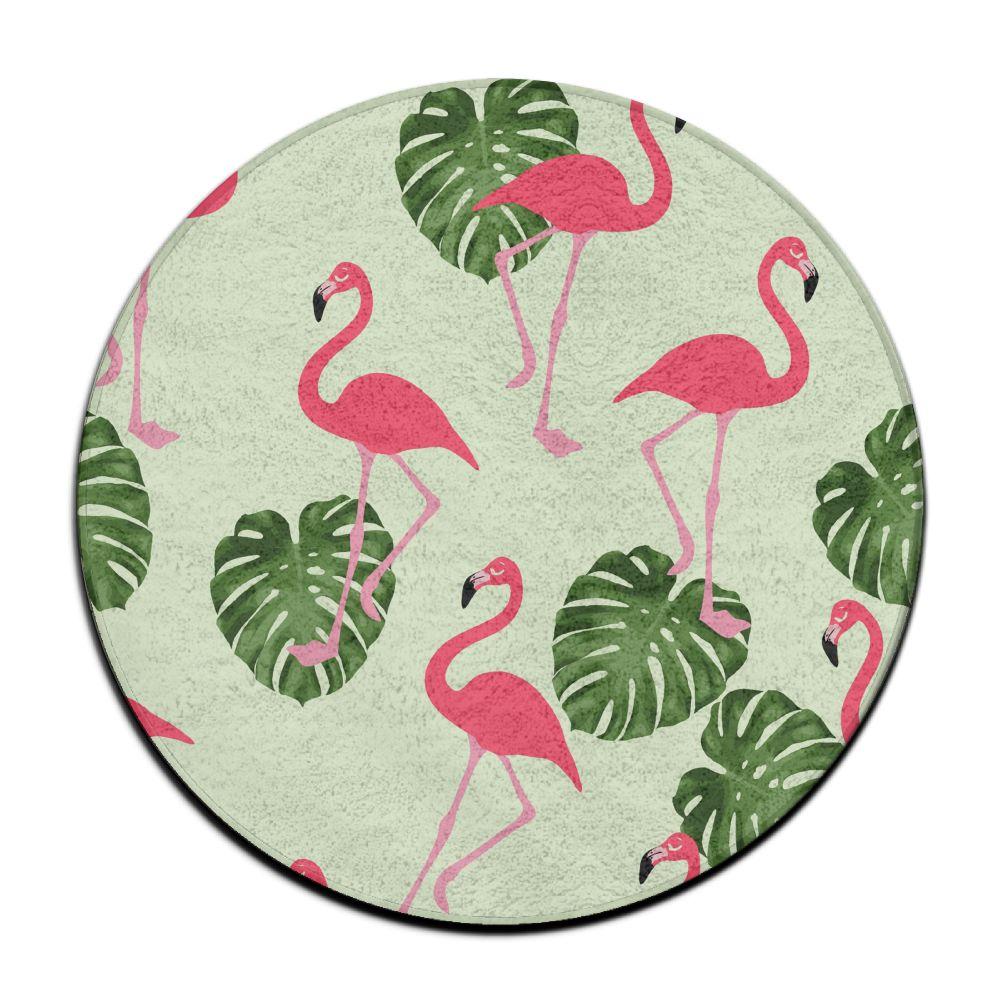 Flamingo in Tropical Monstera Palm Leaves Bath Rugs, Non-Slip Doormat Floor Entryways Indoor Front Door Mat, Kids Bath Mat, 15.6