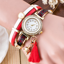 Новые модные женские часы-браслет с кожаным ремешком, повседневные наручные часы с кристаллами, женские часы в стиле ретро, женские часы