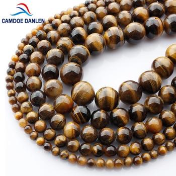 b128defa52da Cuentas redondas de ojo de tigre de piedra Natural de alta calidad sueltas  4 6 8 10 12 14 MM DIY collar de pulsera para hacer joyas al por mayor