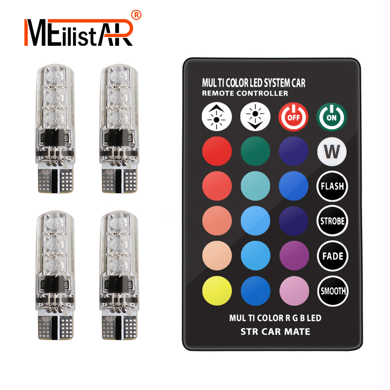 4 Pieces T10 W5W LED Car Lights LED Bulbs RGB With Remote Control 194 168 501 Strobe Led Lamp Reading Lights Car accessories jstop 2pcs set 206 207 led car reading lights t10 w5w trunk bulbs led 12vac t10 wy5w dome lights 5050smd canbus car reading lamp