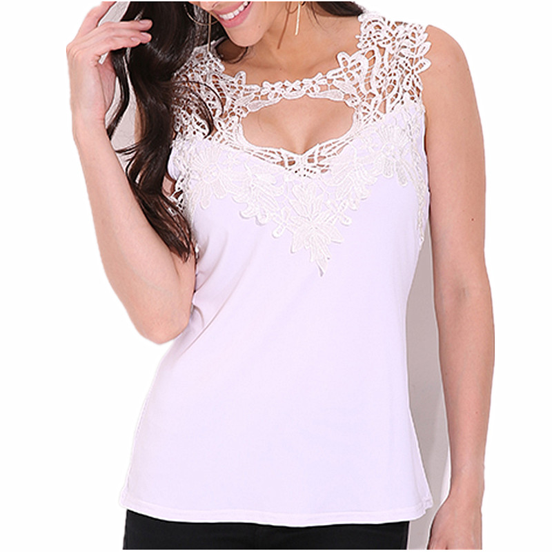 Celmia Fitness Tank Tops Summer Style Ladies Tops Beaded Lace Blouse Shirt 2018 S-4XL Hollow Out Sleeveless Tank Top Women Camis