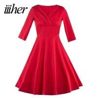 Iiiher Autunno Donne Eleganti 50 s Vintage Abito Rosso Pinup Retro Rockabilly Mezza Manica Partito Wiggle Vestito Dall'oscillazione Vestidos Femininos