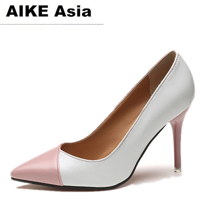 2018 Women pumps Fashion Spell color High heels single shoes female Spring Summer patent leather wedding party shoes woman2018 Women pumps Fashion Spell color High heels single shoes female Spring Summer patent leather wedding party shoes woman