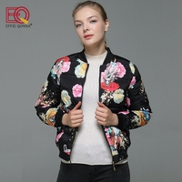 EFFIE QONNA 2017 New Arrival Long Sleeve Winter Women Bomb Jackets Ladies Floral Print Fall Spring
