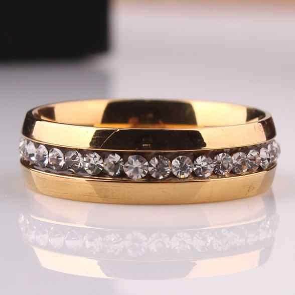 Бесплатная доставка Однорядный Циркон CZ 316L Нержавеющаясталь палец кольцо GP ювелирные изделия Размер 16 17 18 19 20 мм оптовая продажа