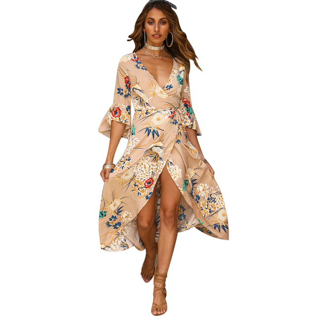 a0673dfae Boho Summer Beach Dress Women Sexy Floral Print Deep V-Neck Maxi Dress  Female Irregular