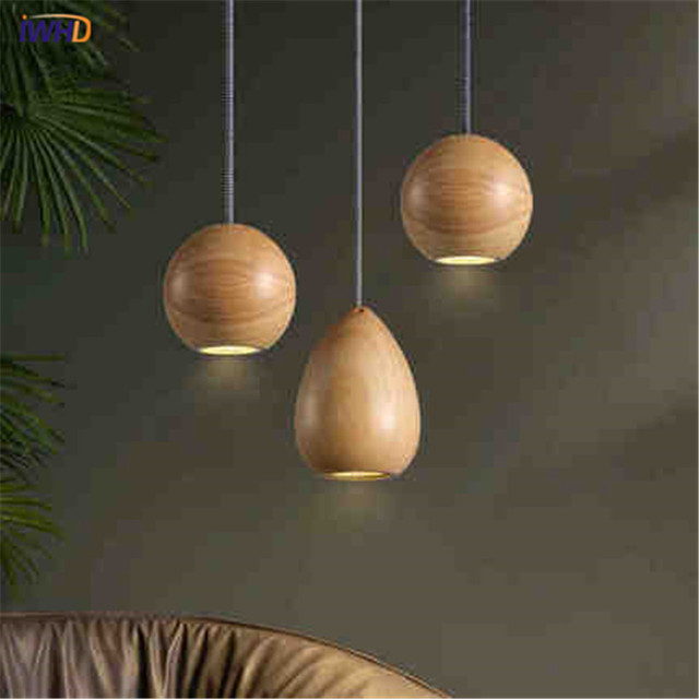 Lámpara colgante luces creativo madera lamparas vintage moderno ...