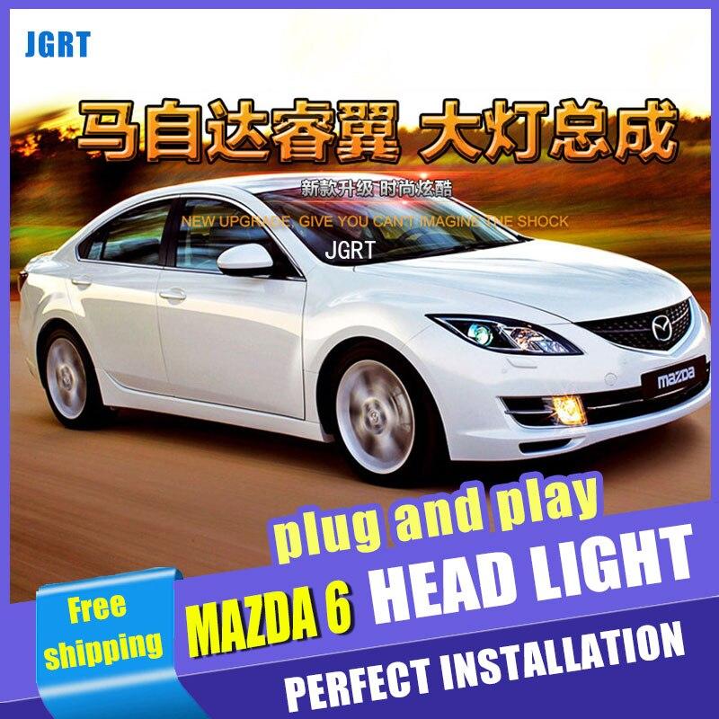 Стайлинга автомобилей для Mazda 6 фара 09-14 сборе для Mazda 6 светодиодные фары глаза Ангела Сид DRL переднего света H7 с HID комплект 2шт.