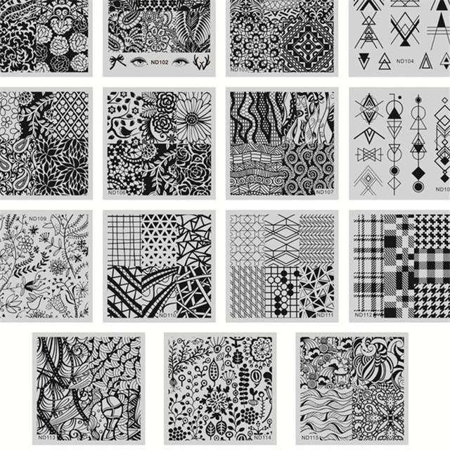 15 Unids/set NICOLE DIARIO Rectángulo Manicura de Uñas De Acero Inoxidable Que Estampa la Plantilla Plate Art Stamping