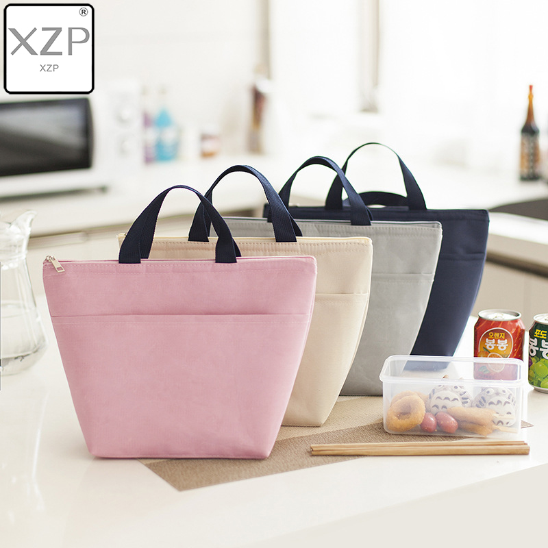 XZP Solid Color Lunch Bag Waterproof Portable Picnic Insulated Food Storage Box Tote Lunch Bag Large Capacity Handbag Lunch Box