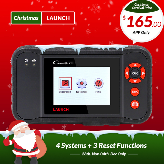 Best Price LAUNCH X431 obd2 code reader Scanner Creader VIII 8 Auto diagnostic Tool for ENG/ABS/SRS/AT+Oil/EPB/SAS reset pk CRP129 NT614