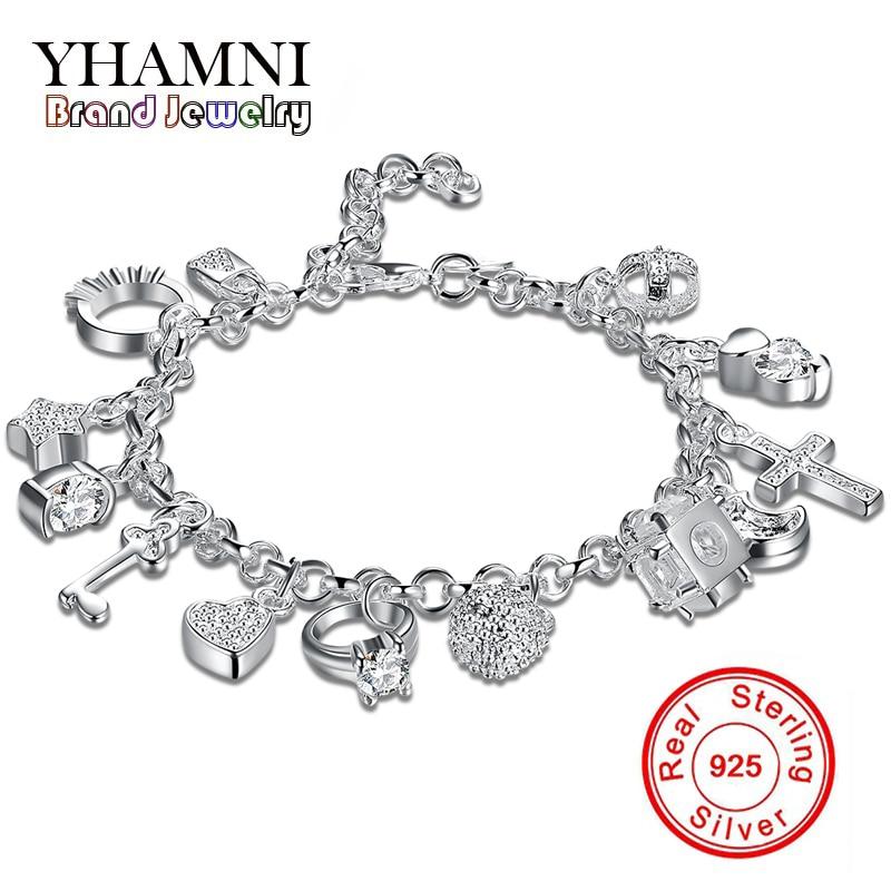 yhamni brand designer charms 925 sterling silver bracelets. Black Bedroom Furniture Sets. Home Design Ideas