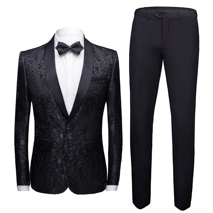 Black Formal Suit Men 2 Piece Set Asian Size 4XL Business Banquet Men Dress Suit Jacket And Pants High Quality Jacquard Fabric