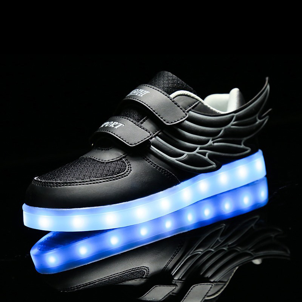 Winter children shine shoes boys girls net mesh sneakers low cut wings shoes colorful LED USB charge LED shoes CS-200 children usb charging kids led shoes adult man women led luminous sneakers casual boys girls breathable sneakers glowing shoes