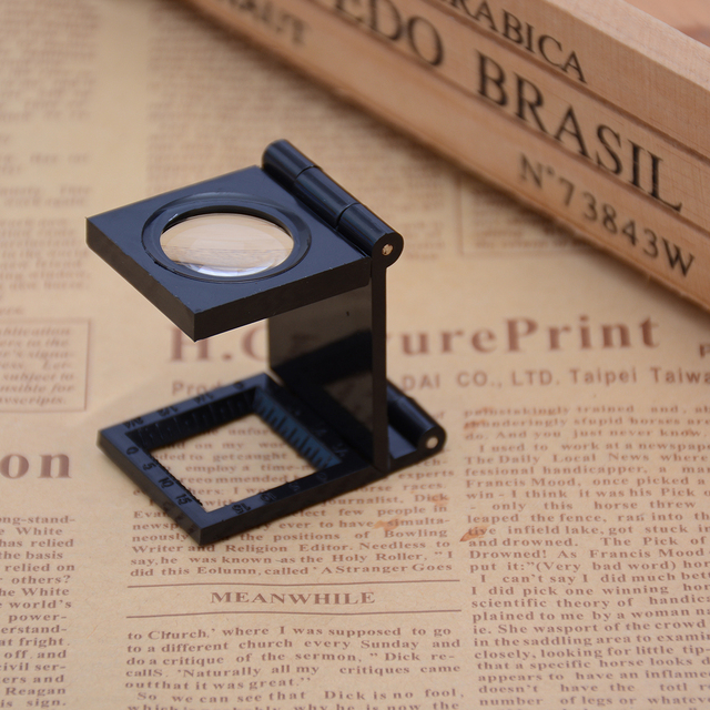 22 MM Foldable Scale Magnifier LED Illumination Light Printing Fabric 8x Magnification Lupa Optical Lenses Magnifying