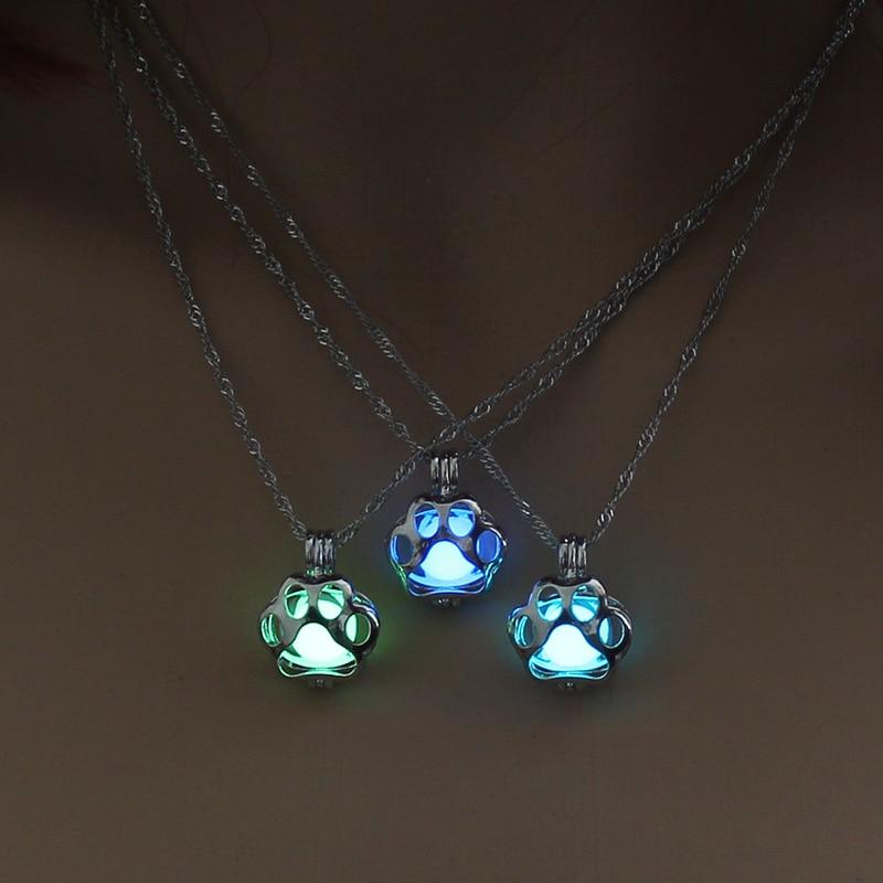 KogMaw Glow in the Dark necklace LOL KogMaw Dog Paw silver Chain Jewelry Pendants & Necklaces Mens Punk Dog Paw Necklace