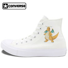 Design Pokemon Dragonite White Black Converse Chuck Taylor II Skateboarding Shoes Men Women Canvas Sneakers High Top Lace Up