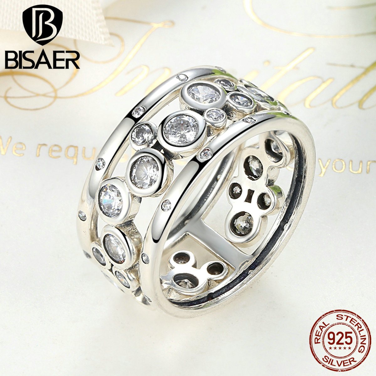Wedding Ring Real 925 Sterling Silver Classic Round Circle Big Finger Rings for Women Wedding Band Engagement Jewelry Gift недорого