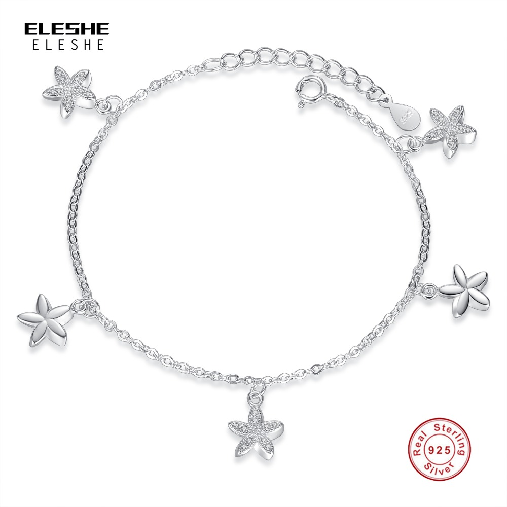 Eleshe 925 Sterling Silver Fashion Jewelry Elephant Crystal Promise Flower Charm  Bracelet For Women Jewelry Accessories